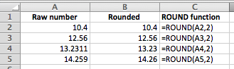 how to use excel formulae to round deciamals