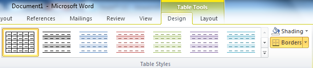 Stop table rows in microsoft word from splitting across for Table design on word